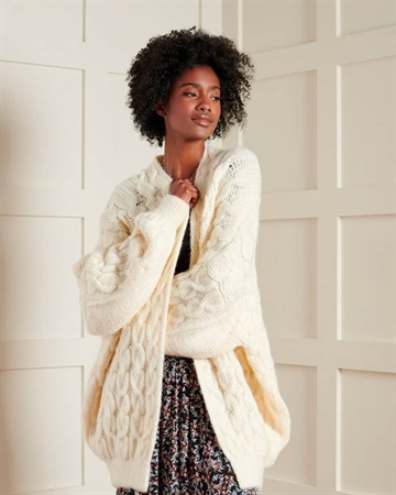 Superdry Grace Oversized Cable Cardigan Creme