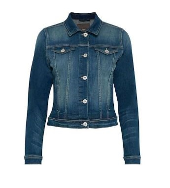 ICHI Stamp Denim Jakke, Medium Blå