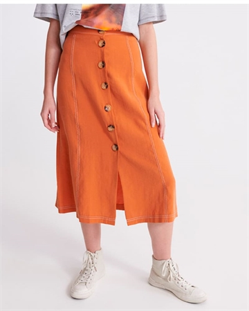 Superdry Valley Midi Skirt Rust