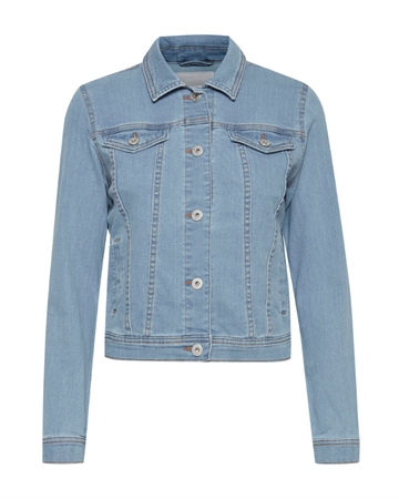 ICHI Stampe Denim Jakke Light Blue
