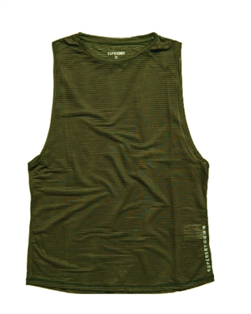 Superdry Sport Training Mesh Tank Top Khaki