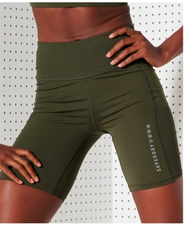 Superdry Sport Training Mesh Tight Shorts Khaki