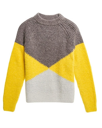 Superdry Super Lux Diamond Ribbed Crew Strik Grey/Yellow
