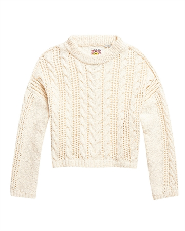 Superdry Layla Open Cable Strik Creme