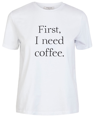 Pieces Coffee T-shirt Hvid