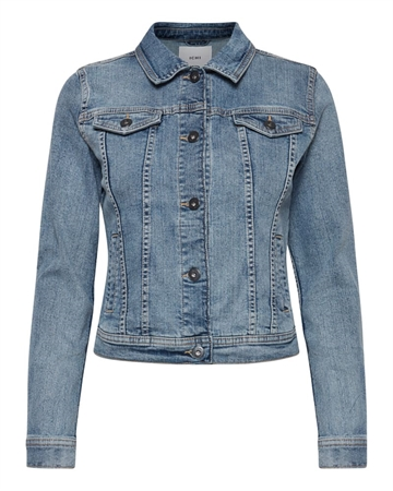 ICHI Stampe Denim Jakke Medium Blue Stone