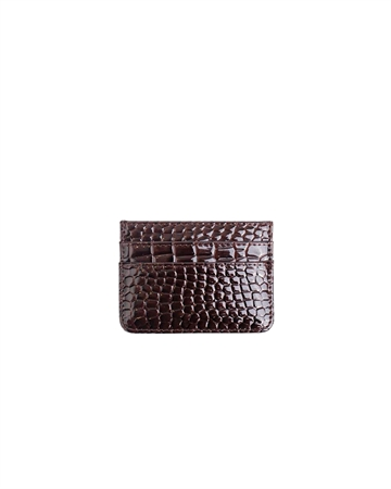Hvisk Card Holder Croco Dark Brown