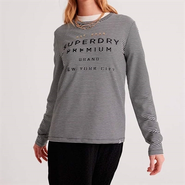 Superdry NYC Stripe LS Bluse Grey Stripe