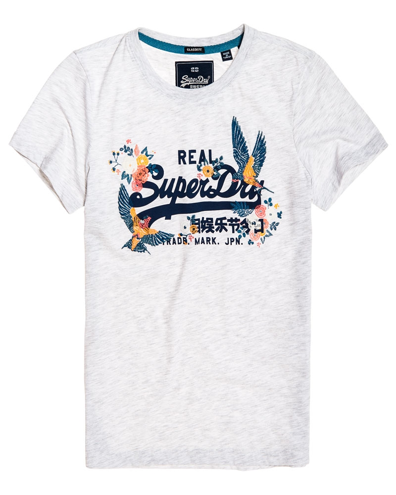Superdry Puff Emb Entry T shirt Ice Marl