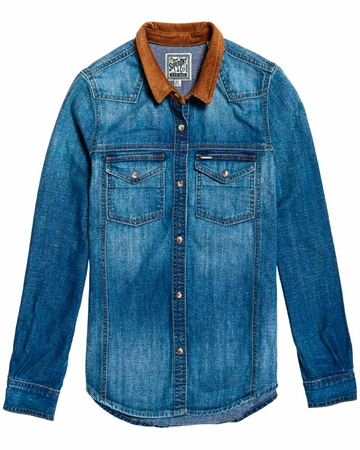 Superdry Western Denim Cord Skjorte Autentic Blå